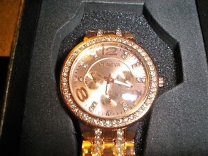 Stainless steel rose gold crystal Quarts watch