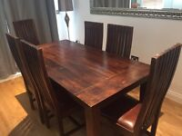Solid Rustic Mango wood table and chairs