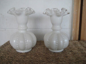 PAIR OF FENTON BUTTON AND MELON CRIMPED TULIP VASES