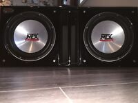 """MTX 12"""" Car Subwoofer, Box, Capacitor and Amp"""