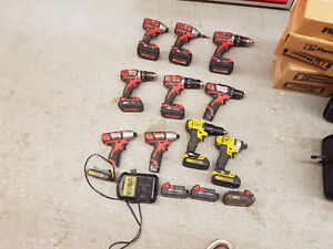 Milwaukee Power Drills/Batteries/Charger/Cases