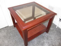 Large Square Glass Wood Coffee Table 52 x 52 cm square and 41cm high £5