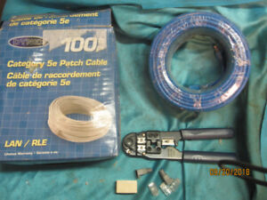 Cat5 Cable 100+ ft Ethernet Install Kit