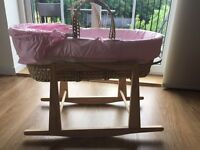 Clair de lune pink Moses basket with rocking stand and two sheets