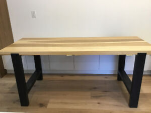 Custom made, poplar wood harvest table