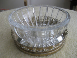 GORGEOUS OLD VINTAGE ROUND WEIGHTED CRYSTAL CANDY BOWL