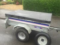 """Larger franc tipping trailer + cover + spare wheel 5ft by 3ft 6"""""""