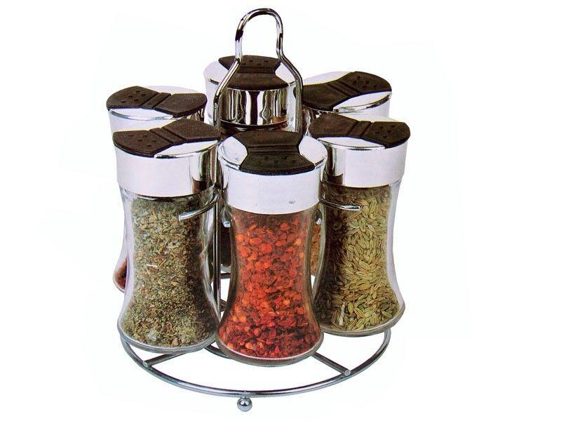 Portaspezie con 6 barattoli apertura facile e stand espositore spezie e erbe