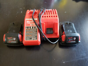 (2) Milwaukee 2.0AH batteries with charger