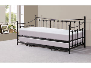 traditional victorian metal 3ft day bed with trundle black. Black Bedroom Furniture Sets. Home Design Ideas