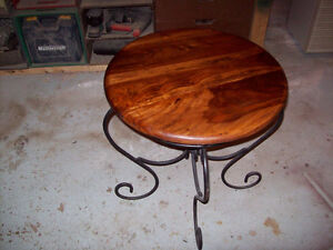 Beautiful solid cherry topped end table with wrought iron base