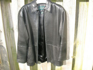 Modern Danier Black Lambskin 3/4 length zipper Jacket London Ontario image 3