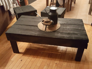 Rustic hand made coffee table and end tables