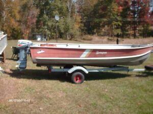 14 ft.aluminum boat,motor trailer