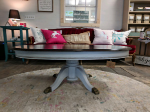 Refinished claw foot coffee table