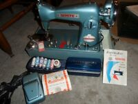 VINTAGE WHITE DRESSMASTER MODEL 755 SEWING MACHINE. COMES WITH S