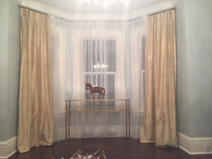 Champagne gold extra long SILK drapes /curtains x 2 panels
