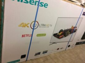 """Hisense Top of the Range UHD 4k 50"""" SMART tv with full HD Freeview Boxed New"""