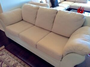 Couch cream colour microsuede leather combo
