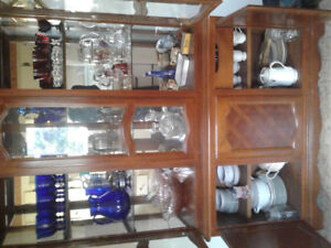 Selling 1970'sTwo-Peace Antique,China Cabinet & All its Contents