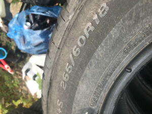 Set of 4 265-60R18 tires