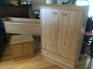 Vintage Armoire, End Table and Footboard