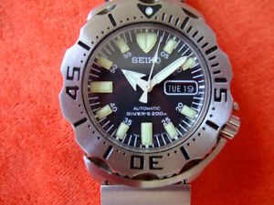 "Seiko Men's ""Black Monster"" Automatic Diver Omega Rolex Tag."
