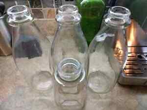 Vintage milk glass bottles.