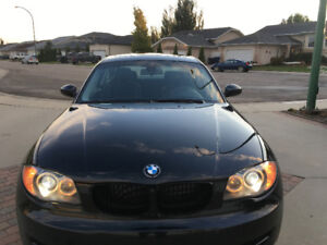 2009 BMW 1-Series 128i Coupe (2 door) Black with Bl leather 79K