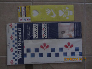 4 Assorted Stencils with 1 blank. Checkerboard, Fruit & Veggies