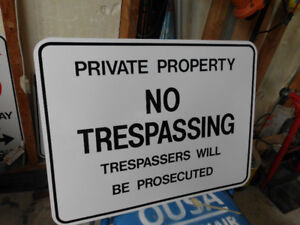 2 New  Metal No Trespassings Signs