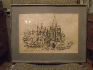 Mid Century/Modern Pencil Line Print Victoria College Toronto