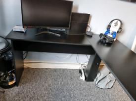 Dark L Shaped Gaming Desk