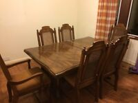solid wood farm house style dining table.
