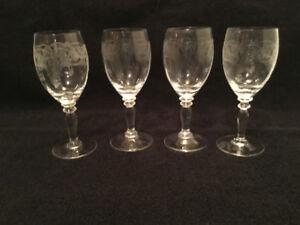 Vintage Bohemian crystal wine glasses, Thistle pattern