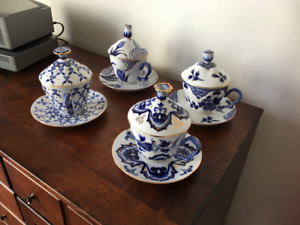 Bombay china covered teacups