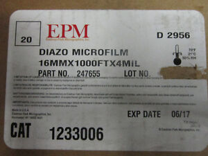 New unwrapped Microfilm 16 MM X 1000 FT X 4 MIL. $15. Roll