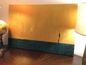 Gold and Blue-Green Painting Acrylics/Peinture or et bleu-vert