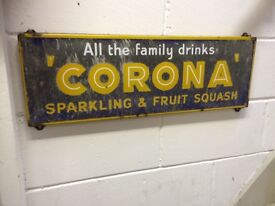 1950s CORONA DRINKS ENAMEL SIGN