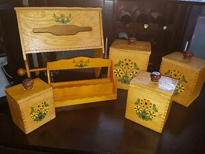 Vintage Wood Kitchen Flour/Sugar Box Organizer Set Tissue Rack