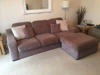 DFS Corner Sofa (changeable) Colour Mocha, 3 Years Old, Cushions Included