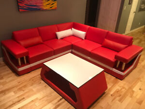 Red leather sectional couch