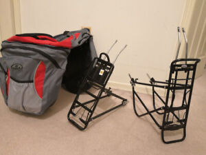 Alloy rear bike rack and Pannier bag for sale