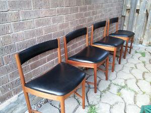 Danish teak set of 4 McIntosh Teak tuck away chairs