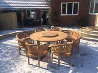 Teak Ascot grand round garden furniture set