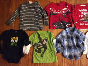 Boys 12-18 months long-sleeve tops & overalls, brand name EUC