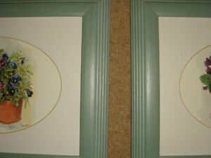 Peggy Abrams Pansy Flower Prints with jade green Wood Frames Regina Regina Area image 2