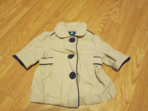 Girls 0-3 Month Old Navy Peacoat