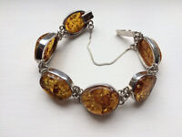 Solid silver and Amber bracelet