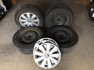 Winter tires with VW OEM rims and wheel covers